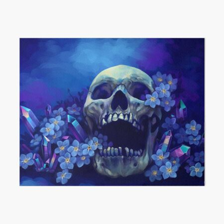 Skull and Forget-me-nots Art Board Print
