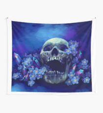 Skull and Forget-me-nots Wall Tapestry