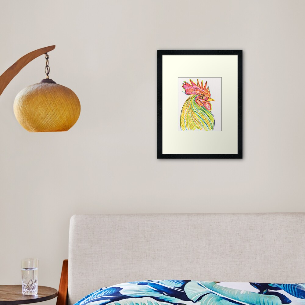Rooster Drawing - 2017 Framed Art Print