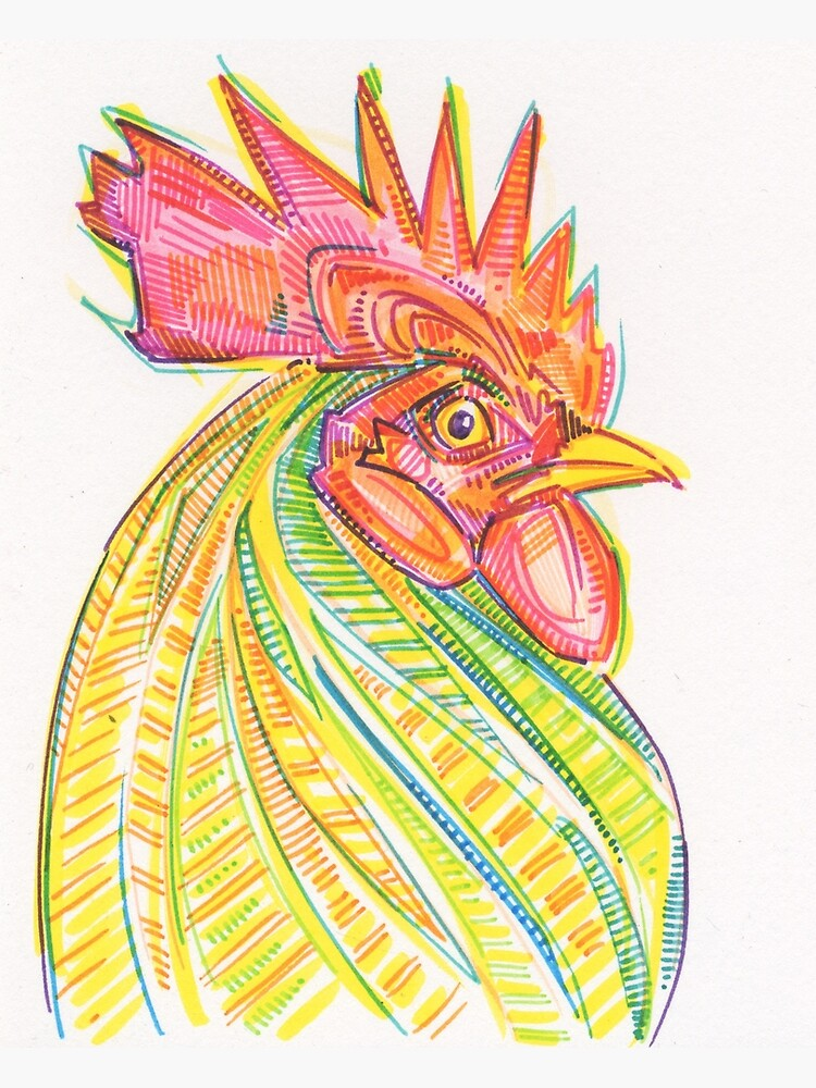 Rooster Drawing - 2017 by gwennpaints