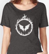 Holy Fire Black and White Angel Graphic Women's Relaxed Fit T-Shirt