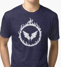 Holy Fire Black and White Angel Graphic Tri-blend T-Shirt