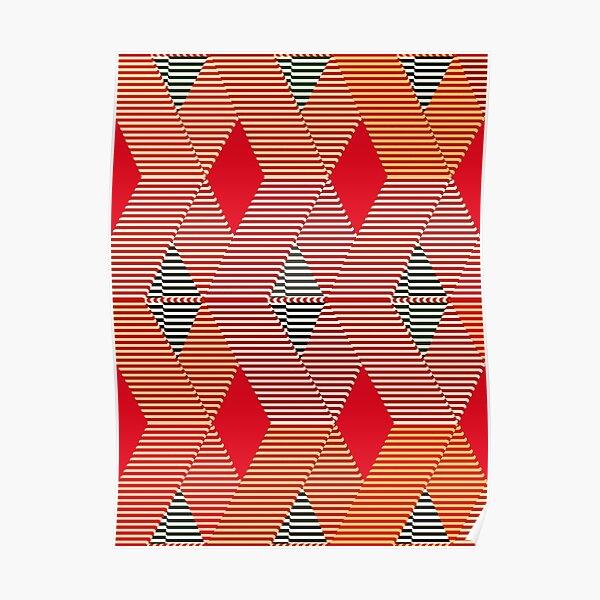 Mid-Century Modern Diamond Print, Coral Orange  Poster
