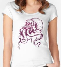 Octopus in Human Skull Women's Fitted Scoop T-Shirt