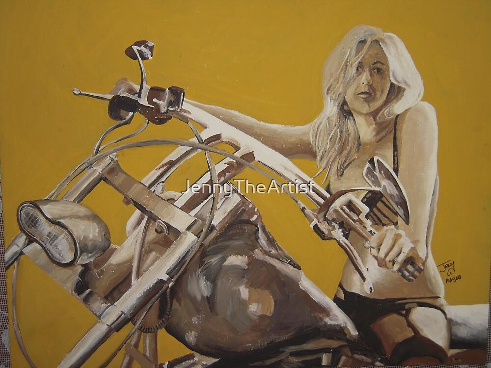 Biker chick on Chopper by JennyA by JennyTheArtist