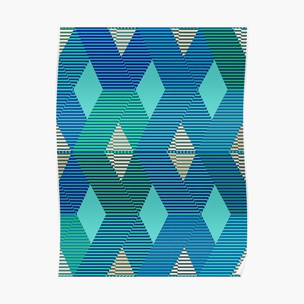 Mid-Century Modern Diamond Print, Turquoise  Poster