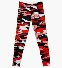 Red & Black Camouflage  Leggings