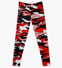 Rote & schwarze Tarnung Leggings