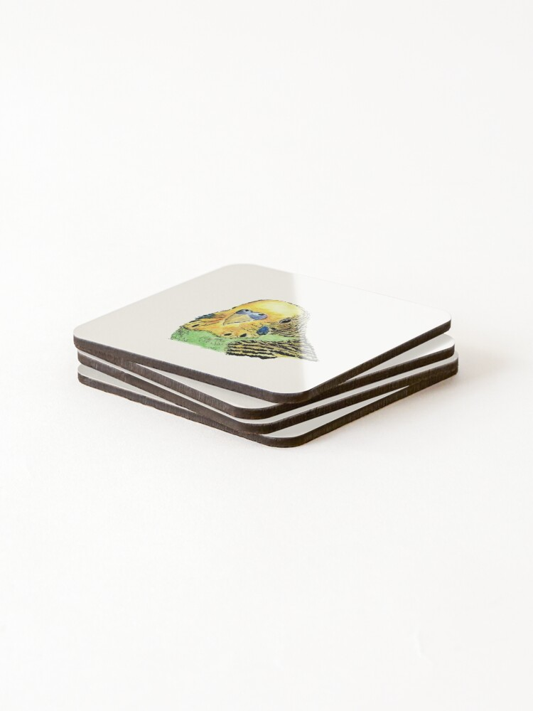 Alternate view of Prettyboy the Green Parakeet Coasters (Set of 4)