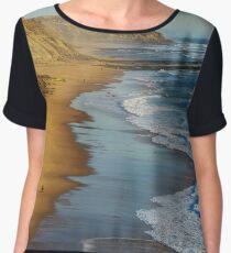 Yellow rocks and sand on portuguese coastline, vivid ocean water, panoramic view Women's Chiffon Top