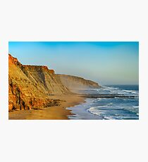 Yellow rocks and sand on portuguese coastline, vivid ocean water, panoramic view Photographic Print