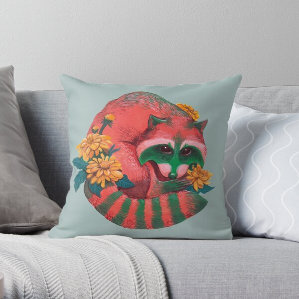 Watermelon Raccoon  Throw Pillow