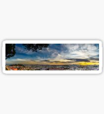 Beautiful colorful sunset panoramic landscape aerial view of Lisbon, Portugal Sticker