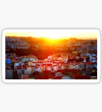 Beautiful colorful sunset landscape aerial view of Lisbon, miniature tilt-shift view, Portugal Sticker