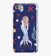 Dancing mermaid - Cute hipster mermaid oceanic seamless pattern on navy blue iPhone Case/Skin