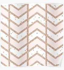 Chevron in Rose Gold Glitter & Pink Poster
