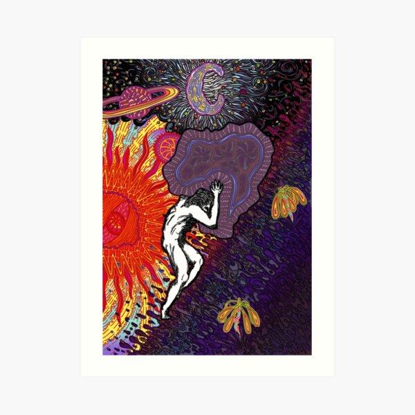 PSYCHEDELIC TRIPPY HORROR VACUI MYTH OF SISYPHUS - full colour Art Print