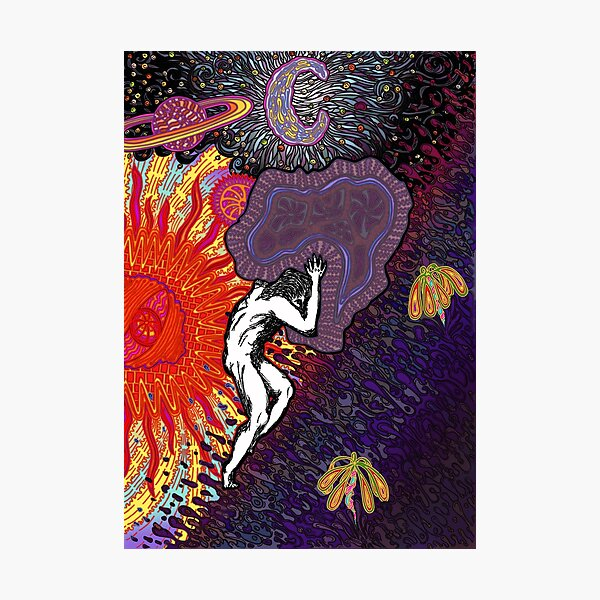 PSYCHEDELIC TRIPPY HORROR VACUI MYTH OF SISYPHUS - full colour Photographic Print