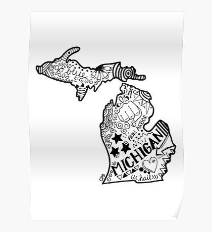 Michigan Gekritzel Poster