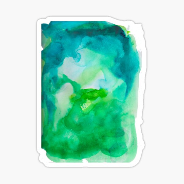 Green Watercolor Dreams - Abstract Pattern Sticker