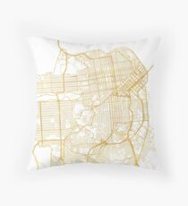SAN FRANCISCO CALIFORNIA CITY STREET MAP ART Throw Pillow