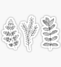 black and white plants Sticker
