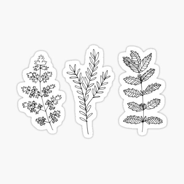 schwarze und weiße Pflanzen Sticker