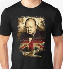 """Never, Never, Never, Give Up""  Winston Churchill. T-Shirt"