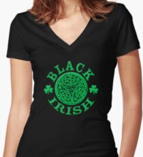 BLACK IRISH with Celtic Art Women's Fitted V-Neck T-Shirt