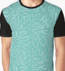 Light Teal Squiggles on Teal Graphic T-Shirt