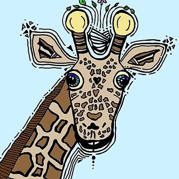 Giraffe Blue Background by itsdylan