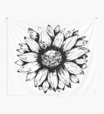 Black & White Sunflower  Wall Tapestry