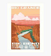 Lámina artística Calcomanía de viaje vintage de Big Bend National Park Rio Grande