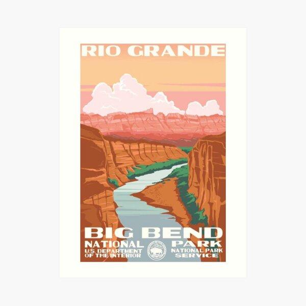 Big Bend National Park Rio Grande Vintage Travel Decal Art Print