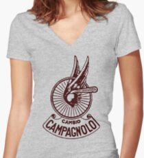 Campagnolo Cambio DARK RED Women's Fitted V-Neck T-Shirt