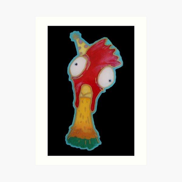 Goofball Chicken Wearing Party Hat, Portrait of a Bantam Art Print