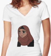 Muslim Anime Girl Women's Fitted V-Neck T-Shirt