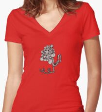 Flower Zentangle Women's Fitted V-Neck T-Shirt