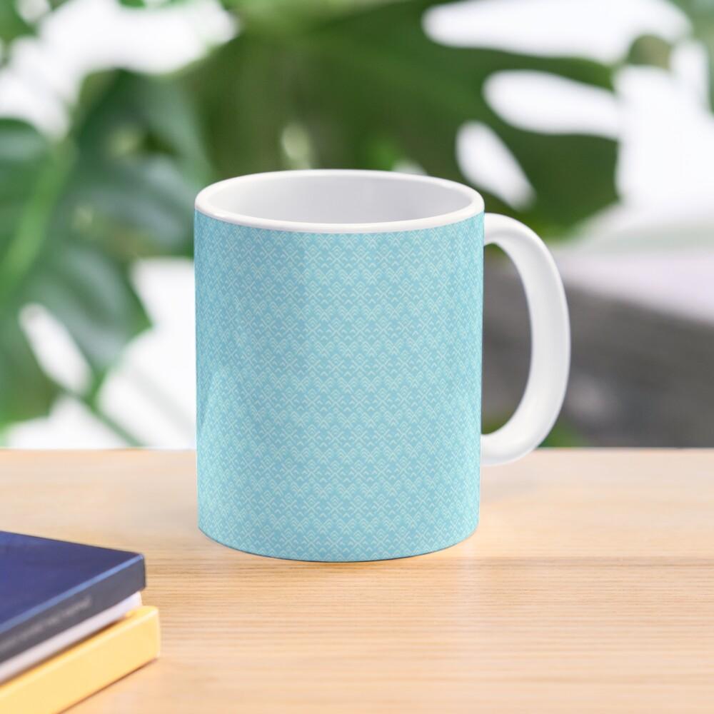 Teal and White Boho Pattern Mug