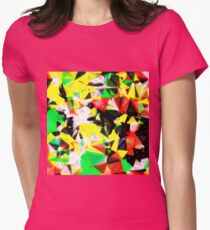 psychedelic geometric abstract pattern in green red yellow black T-Shirt