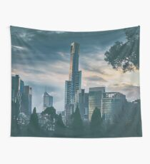 Melbourne Skyline At Dusk Wall Tapestry