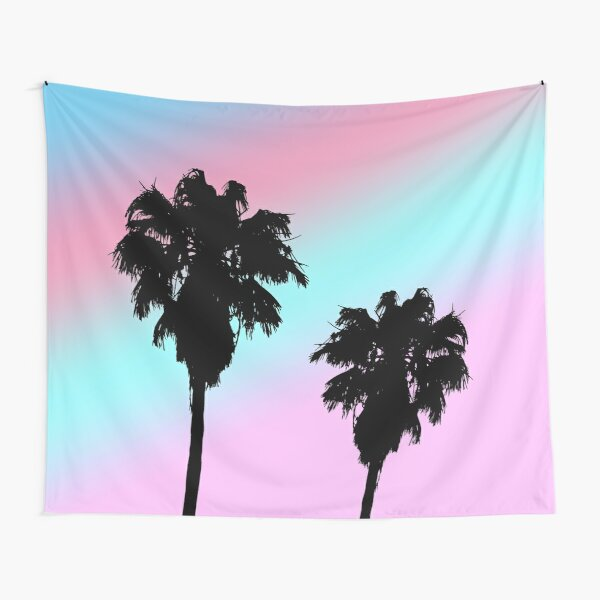Pastel Sunset Palm Trees Tapestry