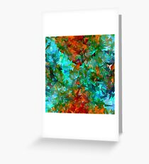psychedelic geometric abstract pattern in green blue orange Greeting Card