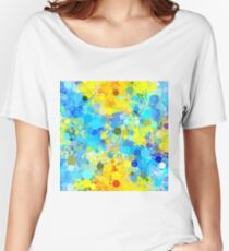 psychedelic geometric circle pattern and square pattern abstract in yellow and blue Women's Relaxed Fit T-Shirt