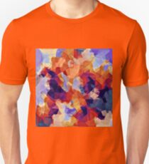 psychedelic geometric polygon pattern abstract in orange brown blue purple T-Shirt