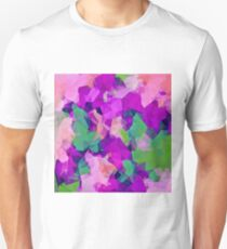 psychedelic geometric polygon pattern abstract in pink purple green T-Shirt