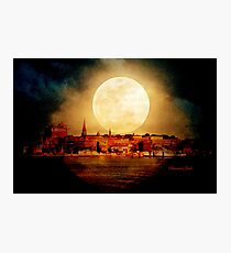 Fire Moon over New London-on-Thames Photographic Print