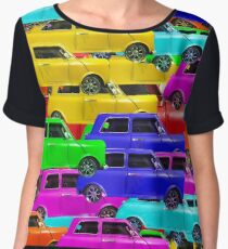 vintage car toy background in yellow blue pink green orange Women's Chiffon Top