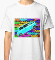 vintage classic car toy background in yellow blue pink green orange Classic T-Shirt