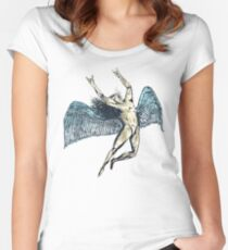 ICARUS THROWS THE HORNS - super blue grunge NEW Women's Fitted Scoop T-Shirt